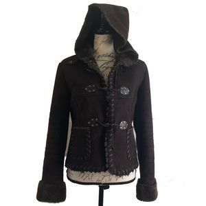 Via Spiga Faux Suede Leather Hooded Fleece Coat